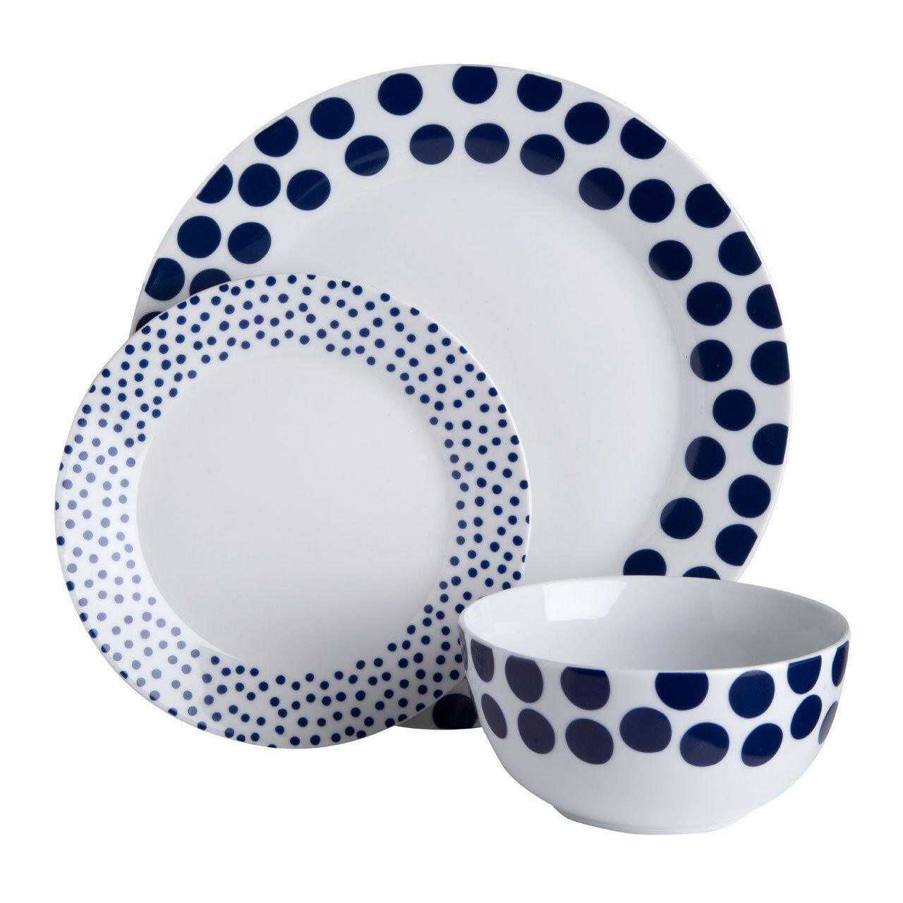 12 Piece Dinner Service Set Procelain bluee Spots Design Plates Cup Bowl