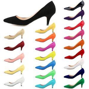 AU-Mid-Low-Kitten-Heel-Patent-Leather-Pumps-Pointy-Party-Plus-Women-Court-Shoes