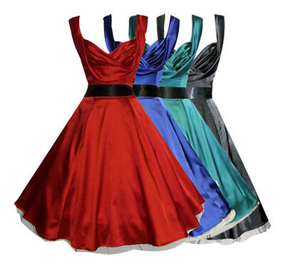 Classic 1950s Vintage Style Silky Satin Full Circle Party Prom Dress New 8 - 26