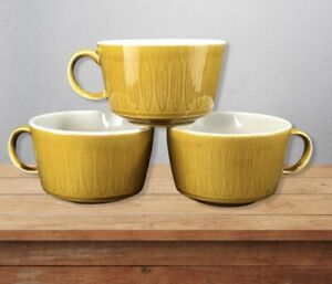 THREE-Vintage-Franciscan-Discovery-Interpace-Topaz-Teacups-Mugs-MCM-Retro-Leaves