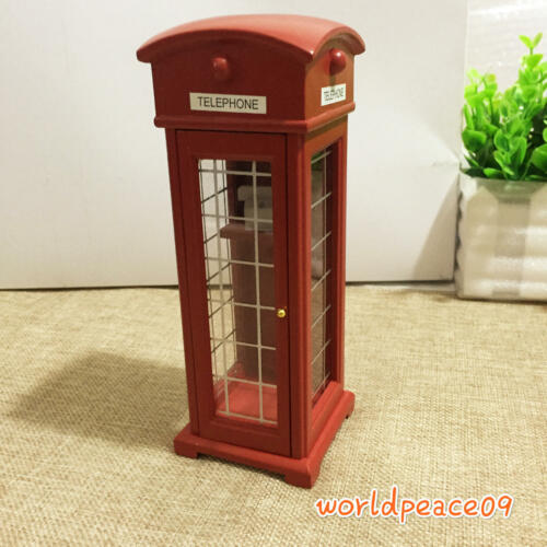 Dollhouse Red Old-Fashioned Public Telephone Booth 1:12 Miniature Decor
