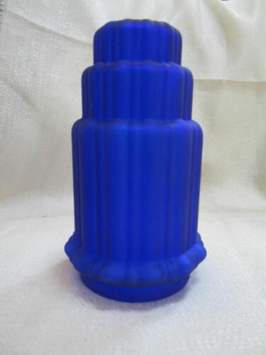 "Frankart 3-1//8/"" fitter lamp globe replacement art deco frosted cobalt blue glass"