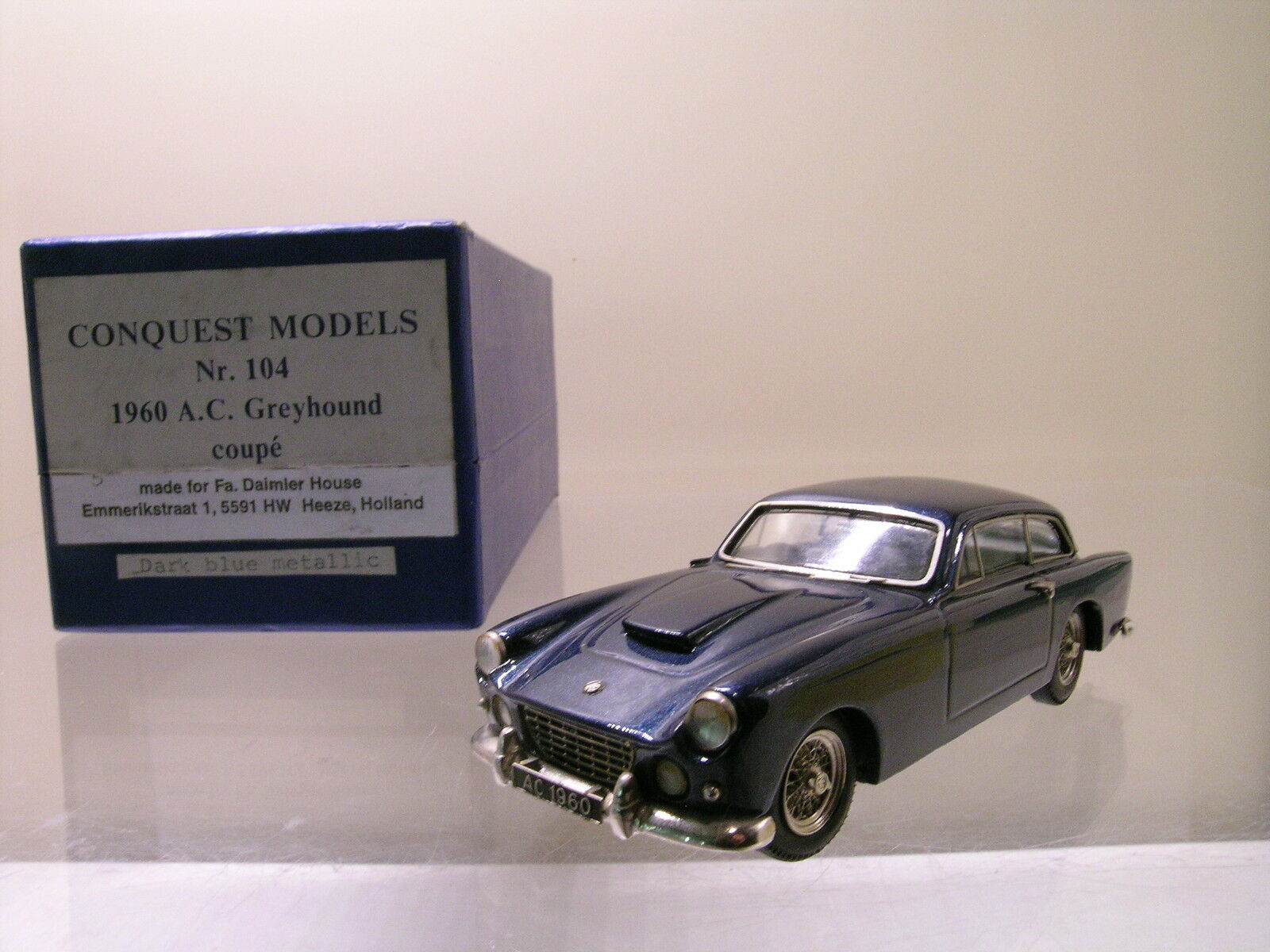 CONQUEST MODELS No.104 A.C. grigioHOUND COUPE 1960 blu MET. HAND-BUILT SCALE1:43