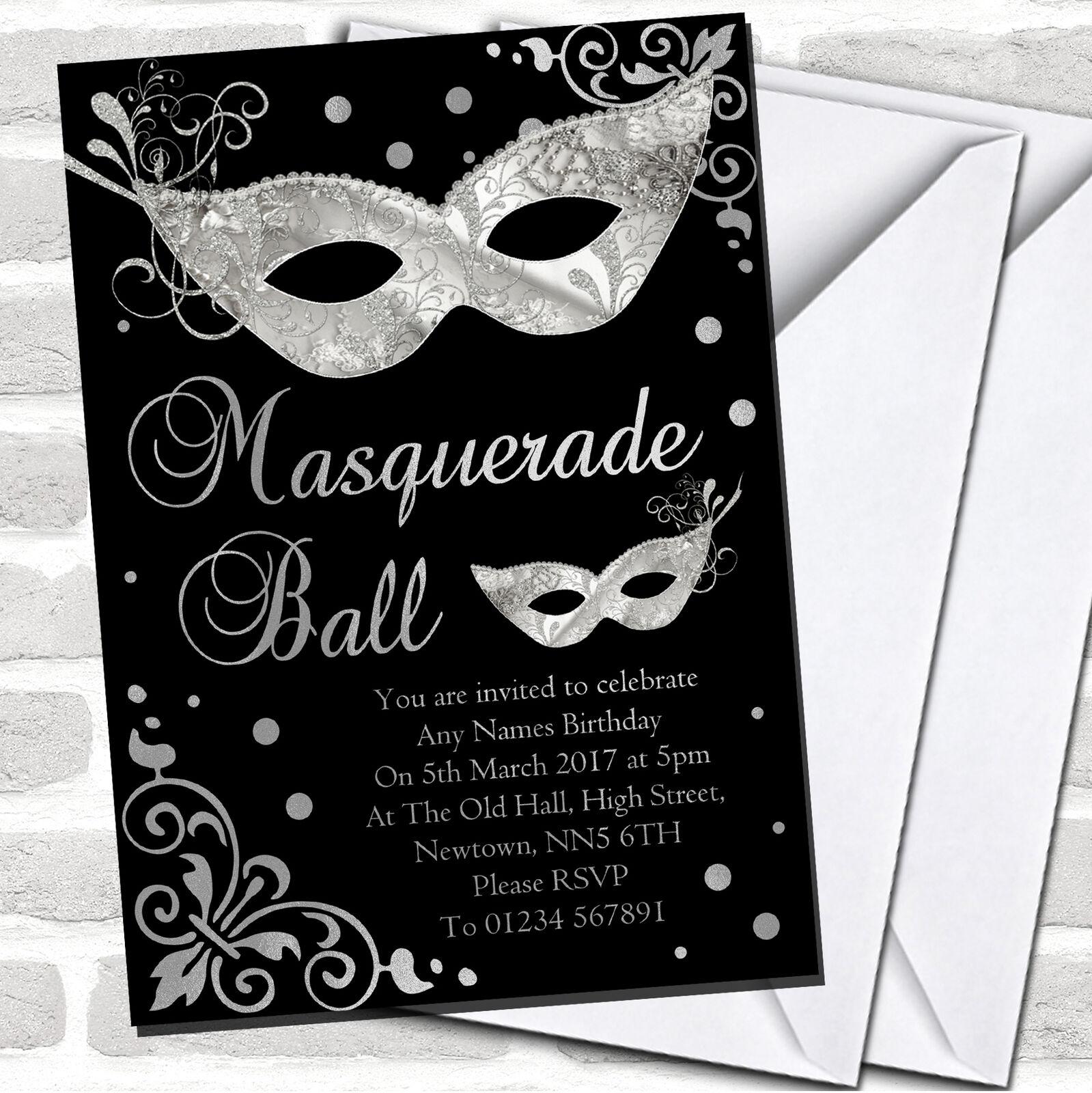 Plata Y Negro Mascarada Baile Fiesta Invitaciones