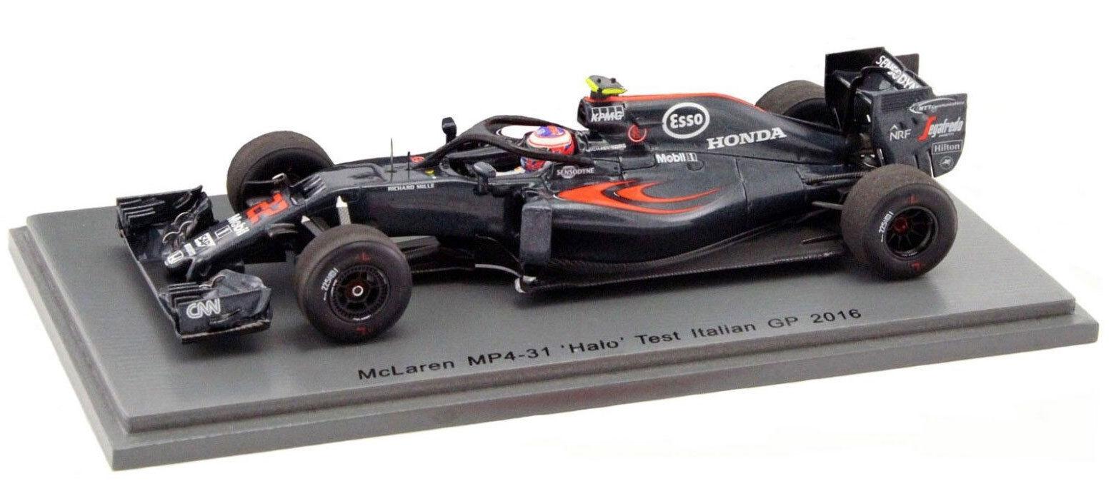 SPARK SPARK SPARK S5022 McLaren MP4-31 Halo Test ITALIAN GP 2016-Jenson Button échelle 1 43 b8389a