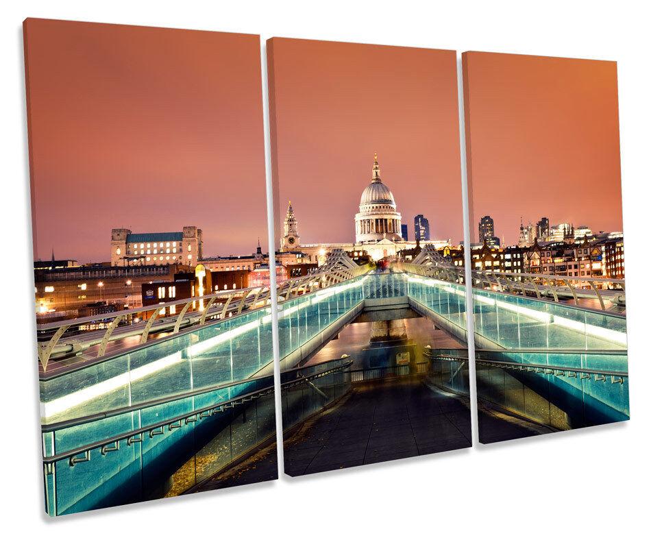 London Cathedral Millennium Bridge TREBLE CANVAS WALL ART Box Framed Print