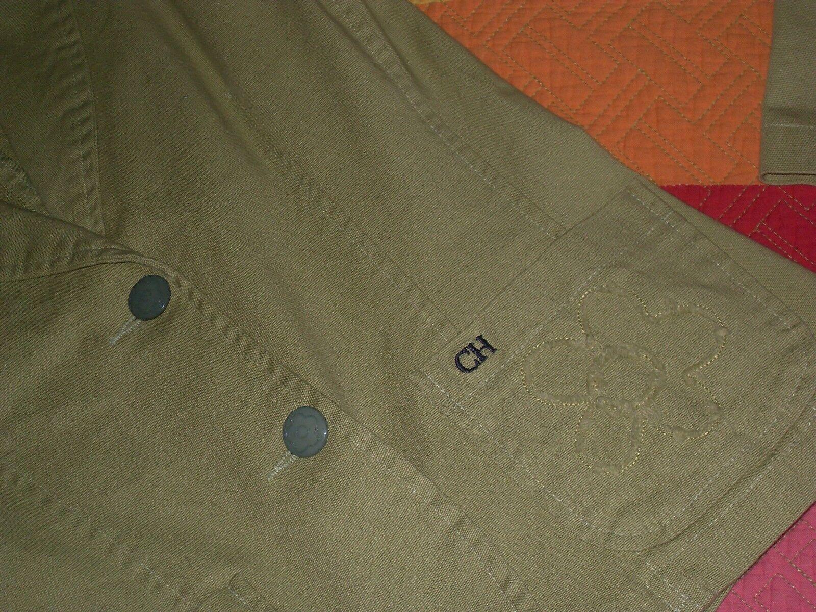 Chaqueta Carolina Herrera fina green bolsillo deshilacha detalle botones size S