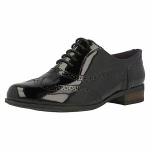 928714257b022 Clarks Hamble Oak Black Patent Leather Brogue Style Lace Up Shoes D ...