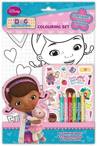 Disney Doc McStuffins Colouring Set Pencils Stickers Travel Stocking Fillers