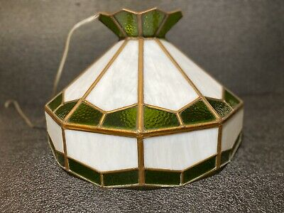 Vtg Lead Green Stained Milk Glass Pool Table Hanging Ceiling Light Fixture Lamp Ebay