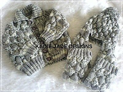 Knitting Pattern #84 (INSTRUCTIONS) Cardigan & Scarf Hat Sizes 1-2 years