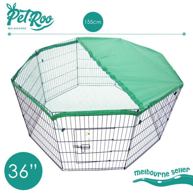 "36"" 8 Panel Pet Playpen w Cover Portable Cage Fence Enclosure Dog Puppy Rabbit"