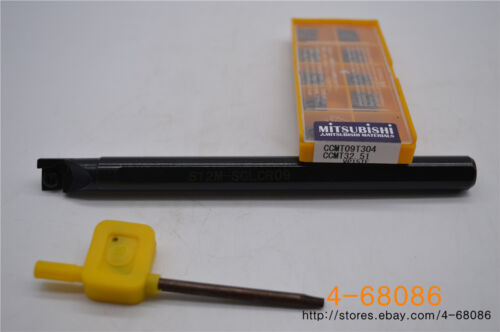 10pcs  CCMT09T304 S12M-SCLCR09 Lathe Turning Tool Holder VP15TF