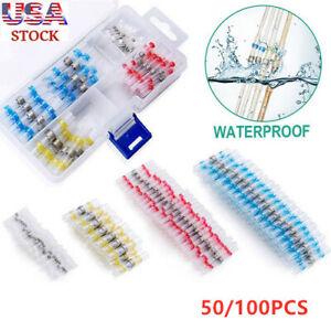 50~100x Waterproof Solder Sleeve Wire Terminals Seal Heat Shrink Butt Connectors