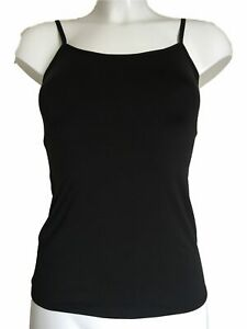 Black-Vest-Top-UK-18-Eur-46-Clingy-soft-stretch-material-underwear-or-outerwear