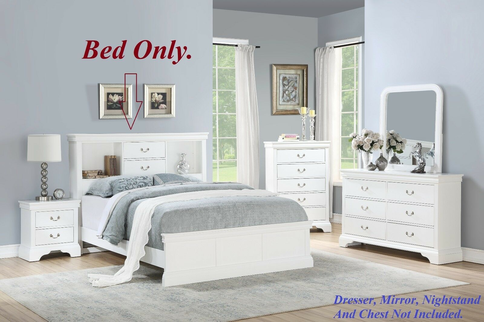1pc Modern Bedframe Full Size Bed Storage Drawers HB White Pattern FB  Bedroom