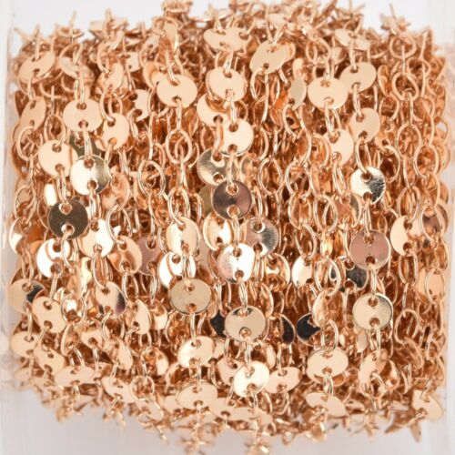 4mm Sequin Charm Brass Chain 32.8ft LIGHT GOLD DISC Cable Link Chain FCH0789b