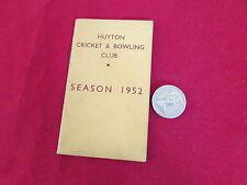 Huyton Cricket & Bowling Club 1952 ORIGINALE membri BIGLIETTO & dispositivo CARD
