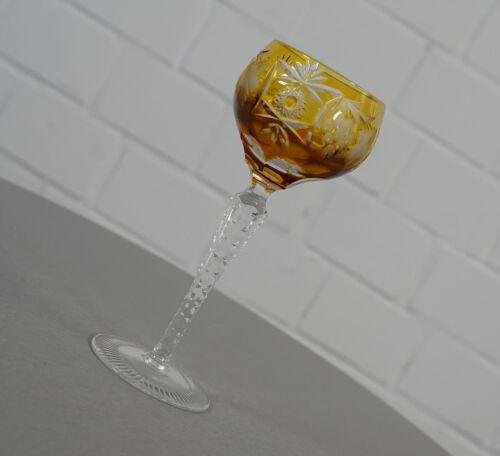 edler Nachtmann Traube Bleikristall Römer Weinglas Diamantschliff Gelb Vintage