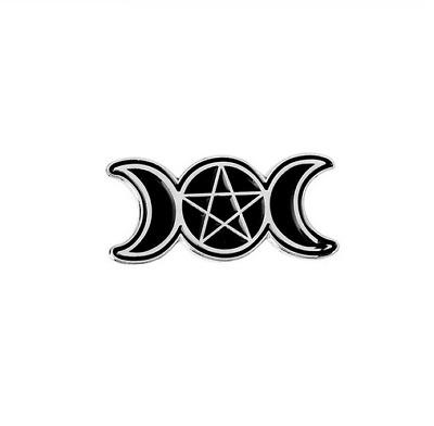 Triple Moon Pentacle Black Enamel Pin Goddess Wiccan Pagan Samhain