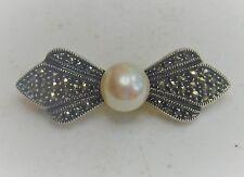 "Judith Jack Designer 1 3/4"" Sterling Silver Marcasite Pearl Brooch Pin"
