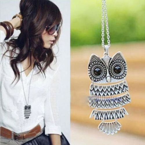 NEW Womens Vintage Retro Style Silver Owl Long Chain Necklace Pendant Jewelry F