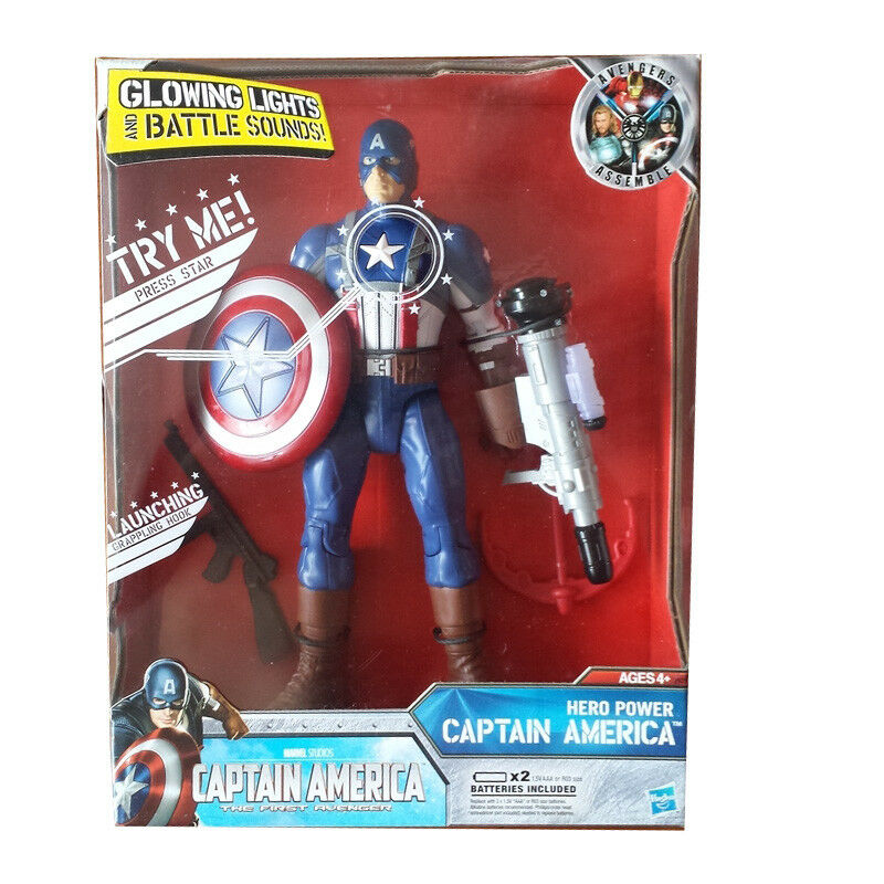 Marvel Captain America Hero Power Glowing Lights & Battle Sounds Action Figure