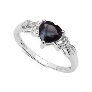 9ct-Oro-Blanco-con-un-Pequeno-Zafiro-Corazon-amp-Anillo-de-Compromiso-Diamante