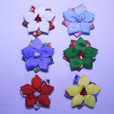 "9pcs 3"" baby girl Christmas Grosgrain Ribbon flower Hair Bows clips 2823-1-6 Y"