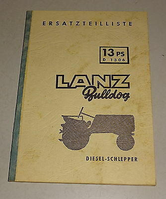 Industrial Trend Mark Parts Catalog/spare Parts List Lanz Bulldog 13 Ps D 1306 Diesel-schlepper 1955 Latest Technology