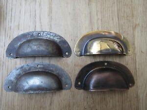 """Belle 4"""" Acier Antique Rétro Vintage Shell Coupe Tasse Tirer Tiroir Armoire Poignée-afficher Le Titre D'origine"""