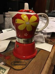 Red Stove top Espresso cuban coffee Maker pot,cappuccino 4 Cup Cafetera Flower eBay