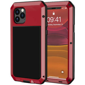 iPhone 11 Pro Max XS 6 7 8 + Metal Case Cover Silicone Shockproof + Screen Glass