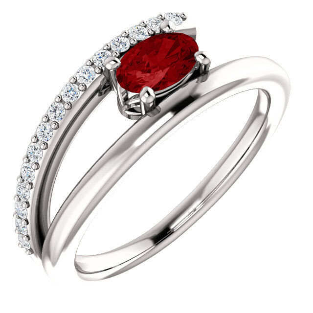 Chatham® Created Ruby & 1 8 CTW Diamond Bypass Ring In 14K White gold