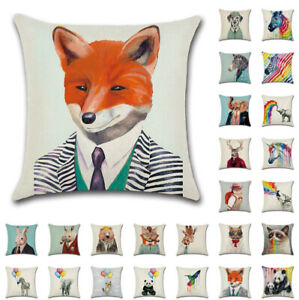 18-034-Animal-Art-Cushion-Cover-Pillow-Case-Cotton-Linen-Sofa-Home-Decor-UK-Stock
