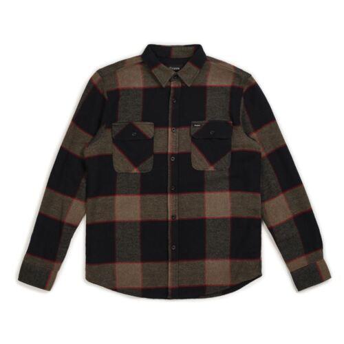 Brixton Bowery Flannel Long Sleeve Shirt Heather Grey Charcoal