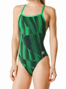 Speedo-Womens-Swimwear-Green-Black-28-Endurance-Flyback-Volt-Swimsuit-84-602