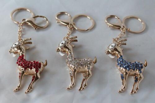 Bejewelled Sheep Zodiac Goat Ram Key Chain Handbag Lucky Feng Shui Hanging Charm