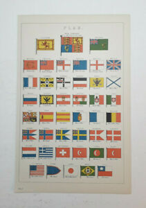Original 1880 Lithograph. FLAG. Beautiful Condition.