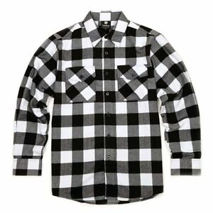 57885444bd949f Image is loading Yago-Flannel-Long-Sleeve-Shirt-Checkered-Black-White-