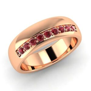 0db7b62aca837 Details about Classic Men's Wedding Band / Ring With 0.42 Ct Ruby In Solid  14k Rose Gold