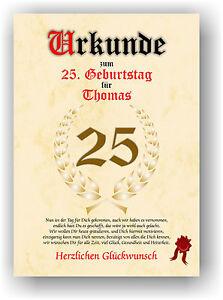 Urkunde-zum-25-Geburtstag-Geschenkidee-Geburtstagsurkunde-Namensdruck-Deko-Bild