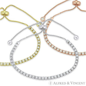 2-8mm-Cubic-Zirconia-CZ-Crystal-925-Sterling-Silver-Sliding-Lock-Tennis-Bracelet
