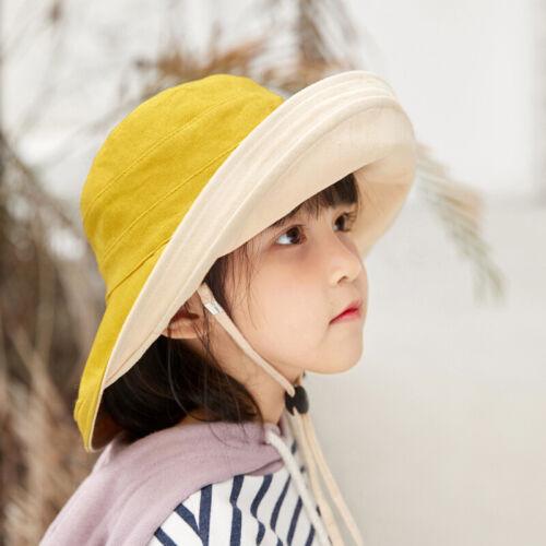 Girls Kids Cotton Bonnet Visor Beach Caps Hats Sun Summer Hat with Wide Brim