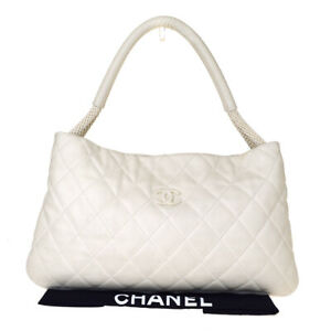 Authentic-CHANEL-CC-Logo-Quilted-One-Shoulder-Bag-Leather-White-Italy-52BJ804