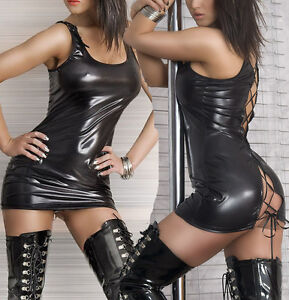 AU-STOCK-Sexy-Women-039-s-Lingerie-PVC-Leather-Wet-Look-Mini-Dress-Bodysuit-Clubwear