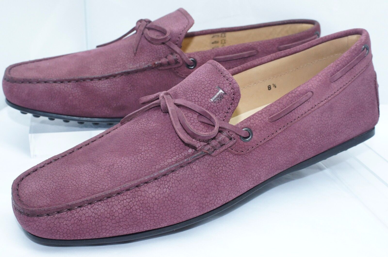 New Tod's Men's Red shoes Lace Mocassin Size 8.5 Loafers Drivers Purple Suede