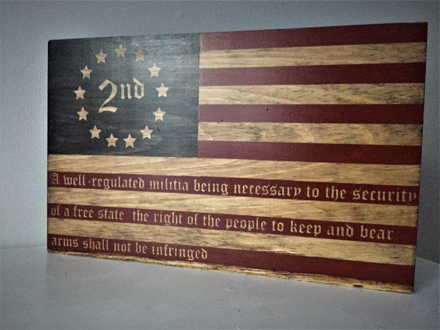 BETSY ROSS 2ND AMENDMENT USA AMERICAN WOOD FLAG VINTAGE HANDMADE WOODEN FLAG