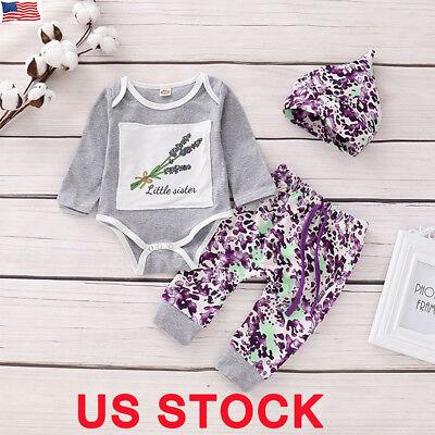 US Infant Baby Girls Floral Clothes Jumpsuit Romper Bodysuit Pants Outfit Set