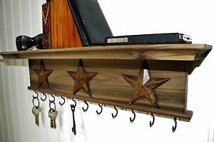 "Key Holder Wall Shelf Mounted Rustic Wood Barn Wood Tone Finish 18"" With Stars"